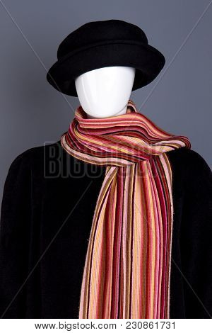 Dark Black Winter Clothing And Scarf.
