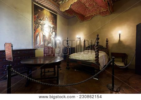 GRADARA, ITALY - JUNE 16, 2017: Interior of Gradara castle. The castle dates back to the period between 11th and 15th centuries