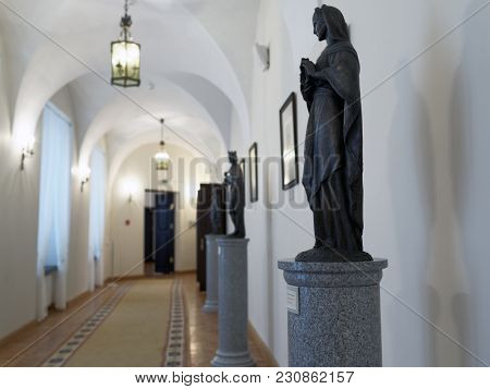 NESVIZH, BELARUS - AUGUST 27, 2012: Interior of Nesvizh castle in Belarus. After reconstruction, since 2006 the castle is listed as UNESCO World Heritage Site