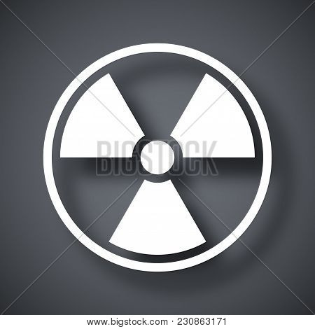 Vector Nuclear Sign Or Icon On Dark Gray Background With Shadow