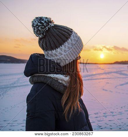 Stranger At Sunset In Half-turn, February, Seashore