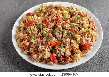 Shredded Beef Mixed With Rice And Vegetables