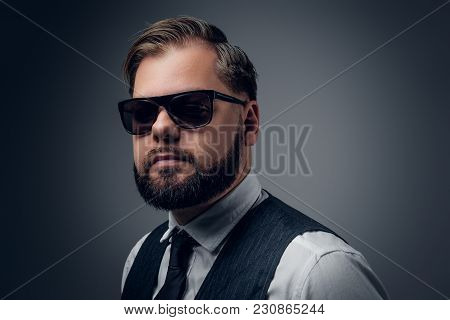 Bearded Elegant Male In Sunglasses Wearing Waistcoat And Bow Tie.