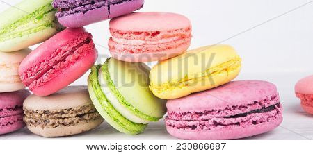Delicious Pink, Yellow And Green Row Of Dessert Macaron,  Background