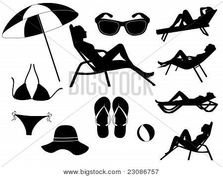 summer elements vector collection