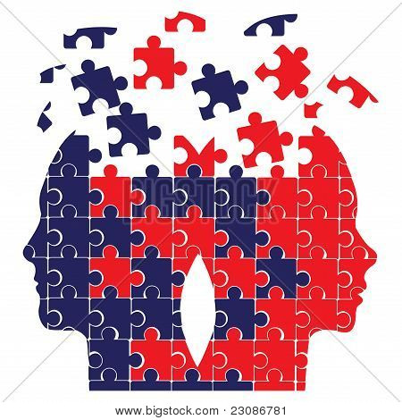 Puzzle heads vector