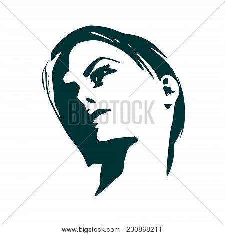Face Half Turn View. Elegant Silhouette Of A Female Head. Short Hair. Monochrome Gamma.