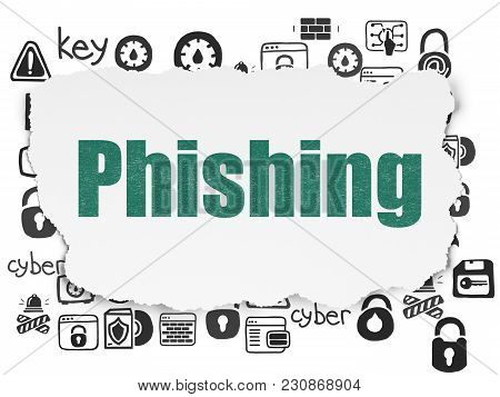 Privacy Concept: Painted Green Text Phishing On Torn Paper Background With  Hand Drawn Security Icon