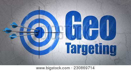 Success Business Concept: Arrows Hitting The Center Of Target, Blue Geo Targeting On Wall Background