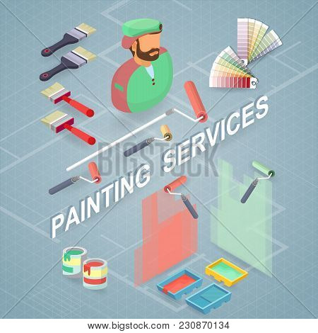 Painting Services. Isometric Building Concept. Worker, Equipment