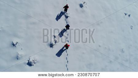 Walking Activities In Snowy Mountains ; Winter Trekking Team