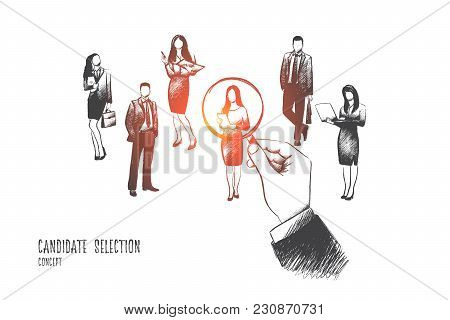 Candidate Selection Concept. Hand Drawn Huge Hand Pointing At One Of Candidates For Job. Concept Of