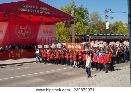 Tyumen, Russia - May 9. 2016: Tyumen Labor Marches On Celebrates 71th Victory Day Anniversary