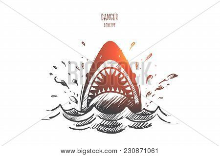 Danger Concept. Hand Drawn Mouth Of A Shark Like Symbol Of Danger. Sea Predator Isolated Vector Illu