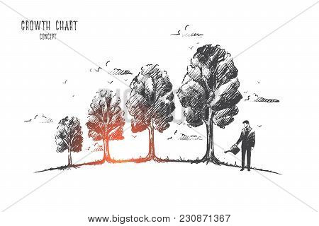 Growth Chart Concept. Hand Drawn Trees Like Symbol Of Growing Chart. Graph Of Economic Changes Isola