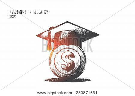 Investment In Education Concept. Hand Drawn Graduation Hat With On Money. Saving For Higher Educatio
