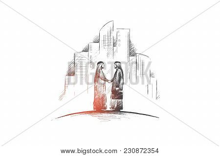 Muslims Concept. Hand Drawn Arab Persons Shaking Hands. Arab Persons In National Dress Isolated Vect