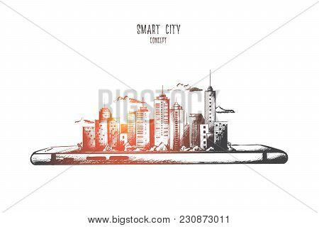 Smart City Concept. Hand Drawn Smartphone With Modern City Scape. Little Model Of City With Skyscrap