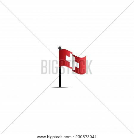 Waving Swiss Flag With White Cross. Abstract Swiss Flag Ribbon Logo White Background. Red Cross Icon