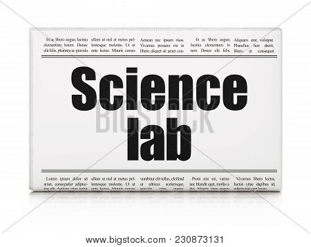 Science Concept: Newspaper Headline Science Lab On White Background, 3d Rendering