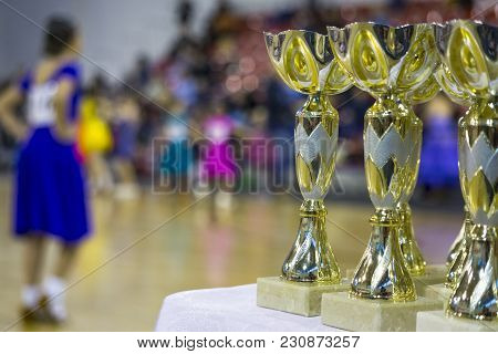 Cups And Awards In Ballroom Dances. The Girl On The Dance Floor.