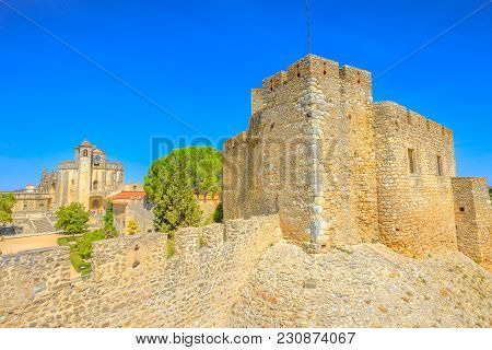 Aerial View Of Church Of Convent Of Christ And Ruins Of Walls In Tomar, Portugal, Unesco Heritage. T