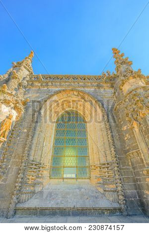 Tomar, Portugal - August 10, 2017: Elements Of Architecture In Portugal. Details Of Glass Window Of