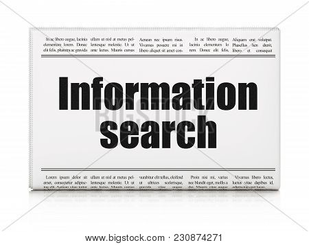 Information Concept: Newspaper Headline Information Search On White Background, 3d Rendering