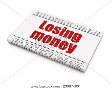 Currency Concept: Newspaper Headline Losing Money On White Background, 3d Rendering