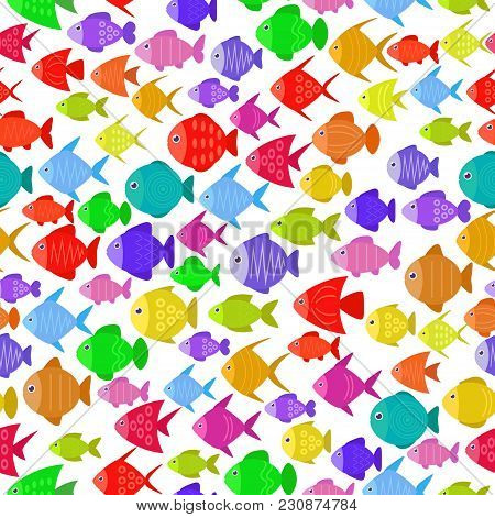 Colorful Fish Seamless Pattern. Underwater Diving Animal - Tropical Fish. Aquarium Fishes Vector Ill