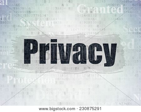 Privacy Concept: Painted Black Text Privacy On Digital Data Paper Background With   Tag Cloud