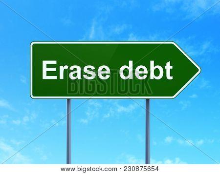 Finance Concept: Erase Debt On Green Road Highway Sign, Clear Blue Sky Background, 3d Rendering