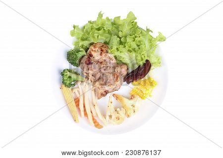 Isolated Of Chicken Steak And Grilled Mixed Vegetables As Chinese Cabbage ,sliced Sweet Corn,corn,ca