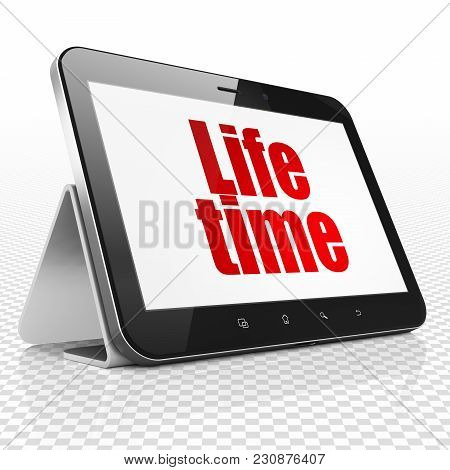 Time Concept: Tablet Computer With Red Text Life Time On Display, 3d Rendering