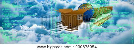 Blue program against clouds against blue sky