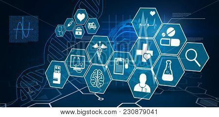 Several icon with sign against digital background with brain and dna helix
