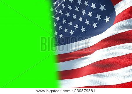 Closeup Of American Usa Flag, Stars And Stripes, United States Of America On Chroma Key Green Screen
