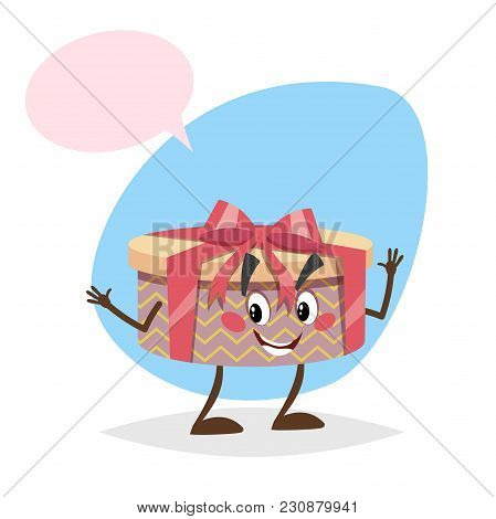 Cartoon Smiling Gift Box Character With Red Ribbon And Bow. Humanized Party Wink Symbol With Dummy S