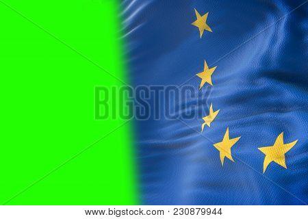 Eu Flag, Euro Flag, Flag Of European Union Waving, Yellow Star On Blue Background With Chroma Key Gr