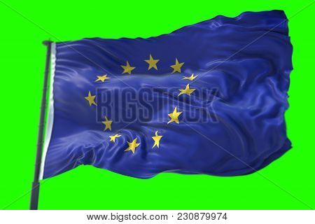 3D Rendering, Eu Flag, Euro Flag With Pole, Flag Of European Union Waving, Yellow Star On Blue Backg