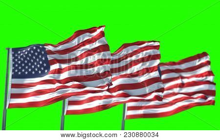 3D Rendering, Three American Usa Flag With Pole, Stars And Stripes, United States Of America On Chro