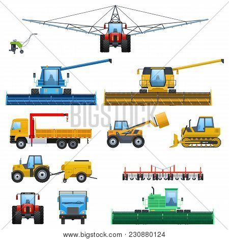 Set Agricultural Machine Vehicle For Cleaning, Watering Territories, Truck For Transportation, Tract