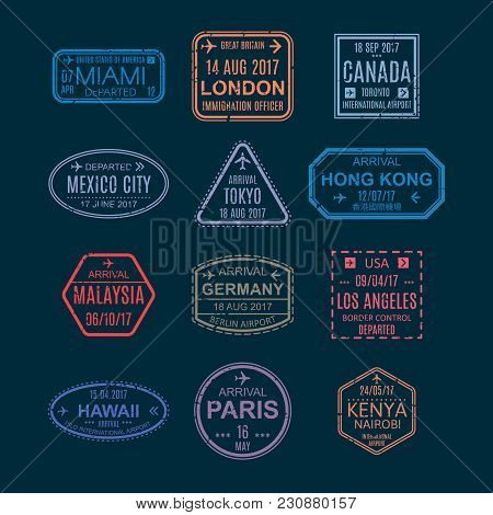 Set Color Templates Of Stamps And Visa Signs In Passport, Symbols With Marks From Airport, Watermark
