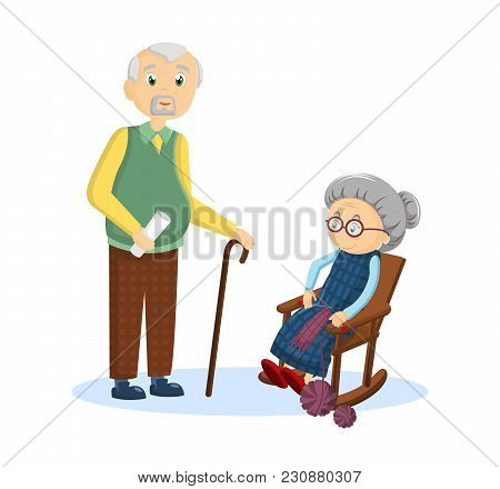 Old, Elderly, Aged Couple. Gray-haired Grandmother, Sitting In Cozy Armchair, Crochet, Swings, Embro
