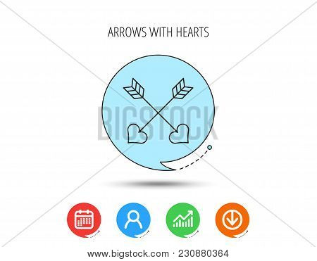 Love Arrows Icon. Amour Equipment Sign. Archer Weapon With Hearts Symbol. Calendar, User And Busines