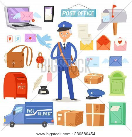Postoffice vector postman delivers mails in postbox or mailbox and post character carries mailed letters in letterbox illustration set postal delivery service isolated on white background. poster