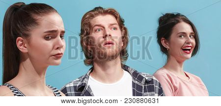 Husband, Wife, Mistress. Depressed People. Young Couple Standing Close To Each Other While Isolated