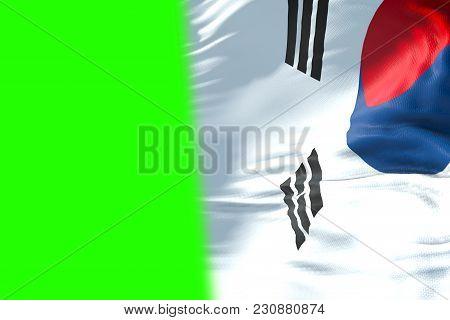 South Korea Flag Waving Texture Fabric Background, Crisis Of North And South Korea, Korean Risk War