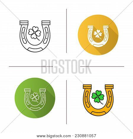 Horseshoe And Four Leaf Clover Icon. Flat Design, Linear And Color Styles. Symbols Of Success And Go