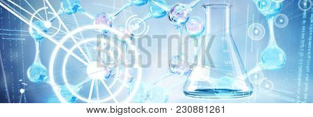 DNA structure against laboratory flask with chemical solution